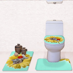 Animal And Flower Pattern Creative Bathroom Absorbent Mats Toilet Rugs Soft Flannel Bath Mat Set 3Pcs