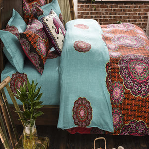 Cyan and Floral Pattern Soft and Luxury Beddings Set