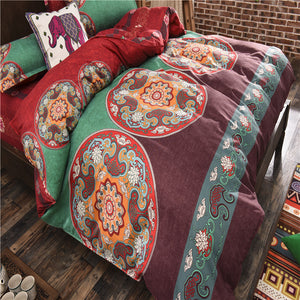 Retro Fashion Green and Brown Tone Floral Pattern Soft and Luxury Beddings Set