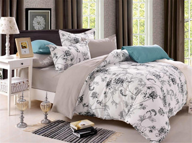 Ink Flowers Pattern Soft and Luxury Beddings Set