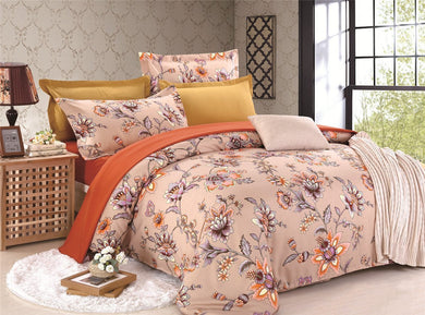 Nude Pink Flowers Printed Soft and Luxury Beddings Set