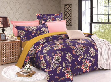 Flowers Pattern Printed Purple Soft and Luxury Beddings Set