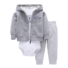 Infant Boy Girl Cotton Ribbed Cuffs Romper Outfit Striped Long Pants And Hoodie Clothes 3pcs/set