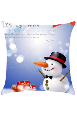 Christmas Snowman Pattern Throw Pillow Case