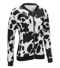 Casual Jacket  Zipper Dairy Cow Printed Jacket Bright Coat for Women
