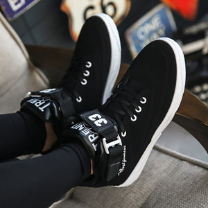 Autumn High School Shoes Students Wholesale Male Shoes Black And White Color Magic Paste For Men's Leisure Sports