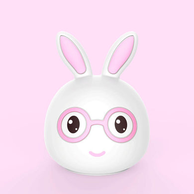 AAA Battery Portable Silicone LED Pink Smile Rabbit Night Light Lamp Tap Control