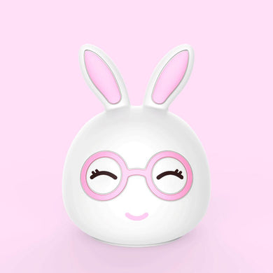 AAA Battery Portable Silicone LED Pink Happy Rabbit Night Light Lamp Tap Control