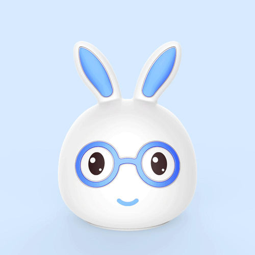 AAA Battery Portable Silicone LED Blue Smile Rabbit Night Light Lamp Tap Control