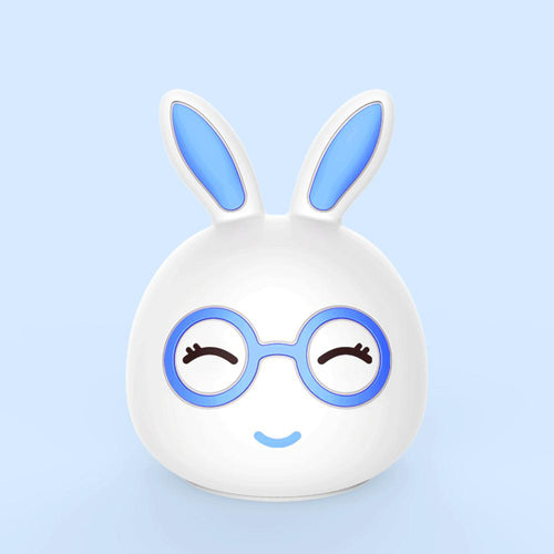 AAA Battery Portable Silicone LED Blue Happy Rabbit Night Light Lamp Tap Control