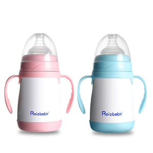 Baby Bottle Nipple 304 Stainless Steel Infant Insulated Bottle Thermos Double Handle 200ml/240ml Baby Milk Bottle