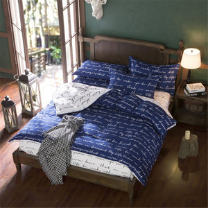Navy Blue Letters Pattern Soft and Luxury Beddings Set