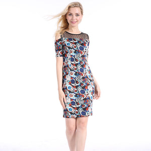 Women Casual Off Shoulder Net Joint Short Sleeve Floral Dress