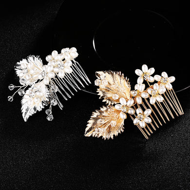 Bridal Hair Combs Silver Leaves Handmade Pealrs Jewelry Shell Tiaras Hairpins Head Clips Wedding Hair Accessories