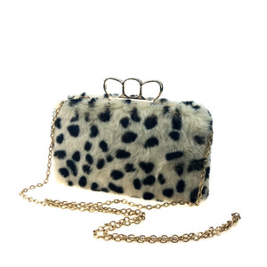 Women Three-Finger Woollen Bag Of Leopard-Print Imitation Of Rabbit Hair Evening Bag
