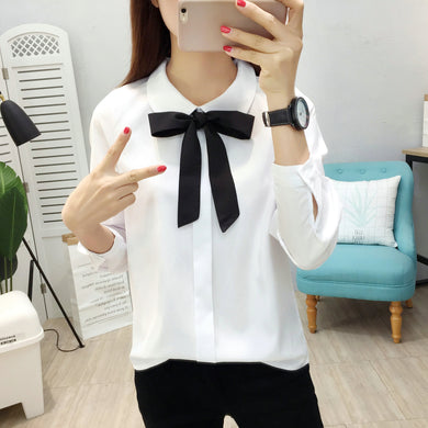 Women Chiffon Blouses Spring Autumn White Pink Womens Clothing Tops Shirt Fashion Scarf Neck Business Office Women Blouse
