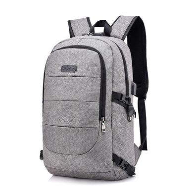 Office Work Solid Color Unisex Style Laptop Backpack with Extenal USB Charger