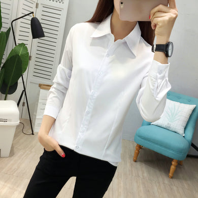 New Summer Autumn Fashion Women Shirts OL Business Formal Long Sleeve Chiffon Blouses Plus Size Casual Tops