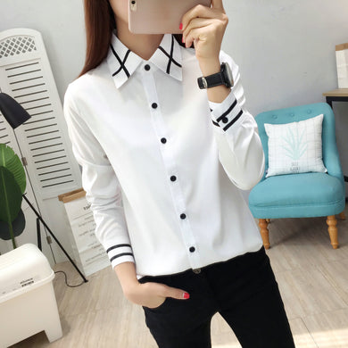 Ladies Blouse OL Elegant Women Spring Korean Style Long and Short Sleeve Sequin Chiffon Ladies Office Shirt White