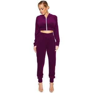 New Women's Autumn/Winter Casual Hooded Jacket Pants Two-Piece Suit