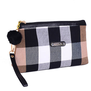 Business Style Canvas Splicing Ladies Cosmetic Bag Mini Mobile Phone Bag