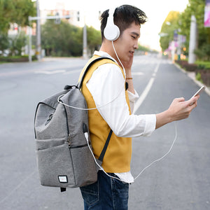 City Cornor Buckled Multiple Layers Backpack with External USB Port