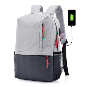 Fashion Design Color Contrast Campus Style Backpack with External USB Port