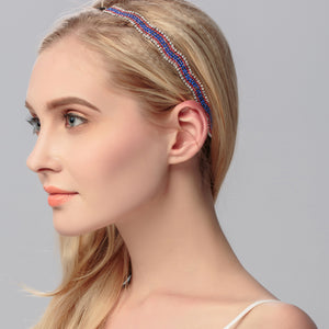 Fashion Women HeadBand Elastic Hairband Wrap wave shape Rhinestones Hair Vines Hair Jewerly Accessories