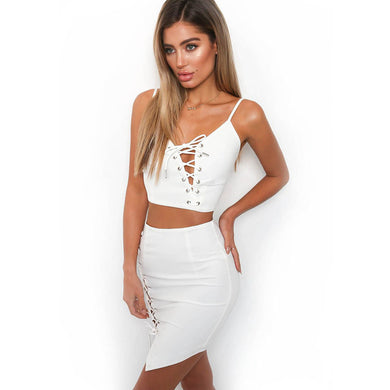 Summer new o-neck collar personalized white women sets bandage suspender tops mini sexy skirt girl suits