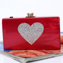 Red Square Shiny Heart Pattern Evening Bags