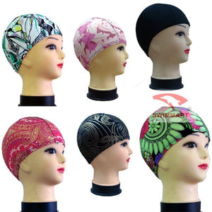 Random Solid Color And Print Unisex Nylon Lycra Composition Fabric Swim Cap