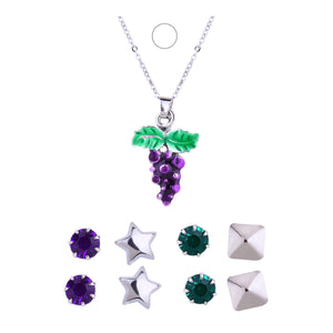 Brand Fashion Sterling Silver Fruit Maxi Necklace Enamel Grape Necklaces & Pendants Jewelry Gifts for Women