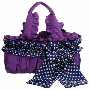 Spoted Ribbon Decoration Fabric Bags