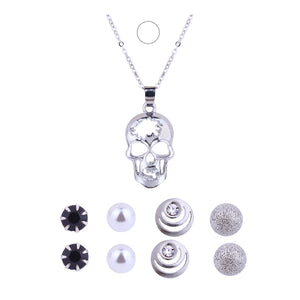 Punk Style Skull Pendant Necklace Luminous Jewelry Silver Color Chain Glow in the Dark Choker Statement Necklace