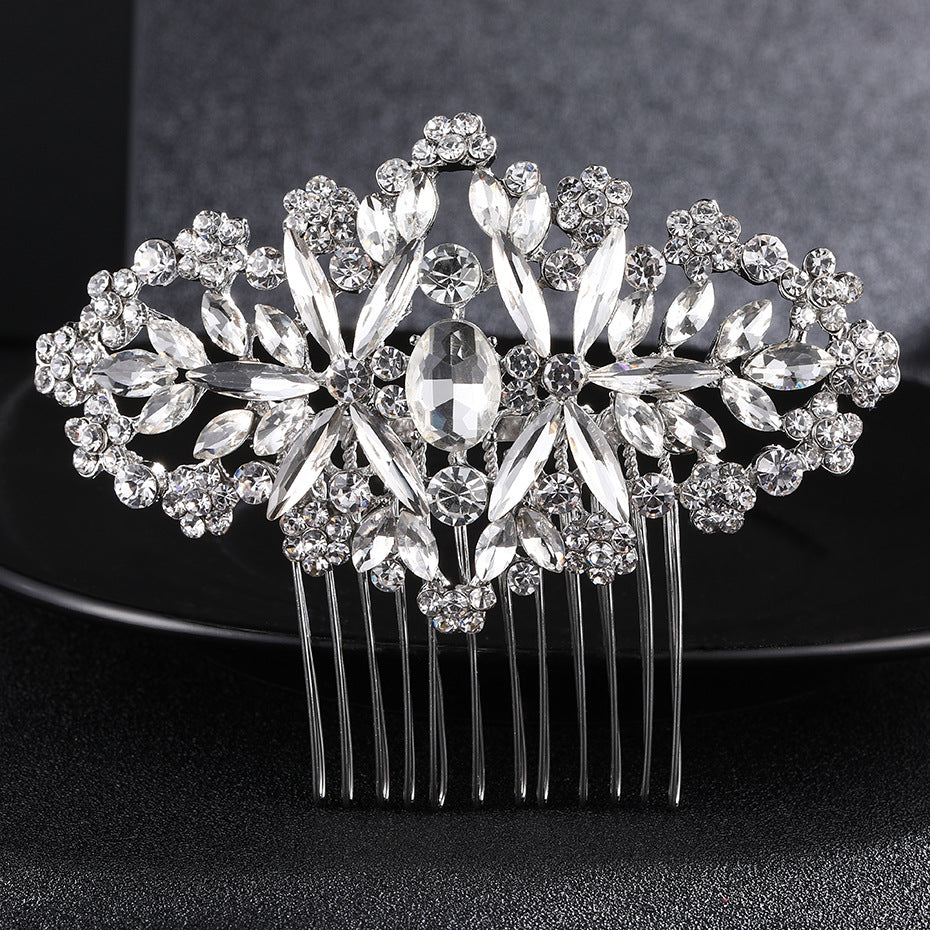 Style Simple Hair Combed Water Diamond Jewelry Fashionable High-End Atmosphere Bride Jewelry Wedding Ornaments