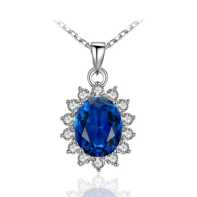 Charms Chain Necklace Oval Princess Diana William Sapphire Blue Diamond 925 Sterling Silver Pendant Necklace for Women