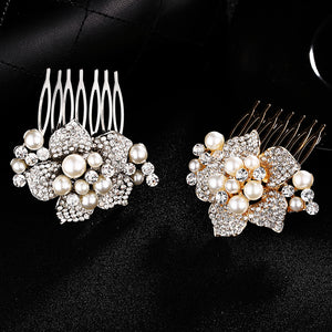 New High-End European And American Brides Headdress Pearl Water Drill Hair Combs And Decorated With Korean Hair Ornaments