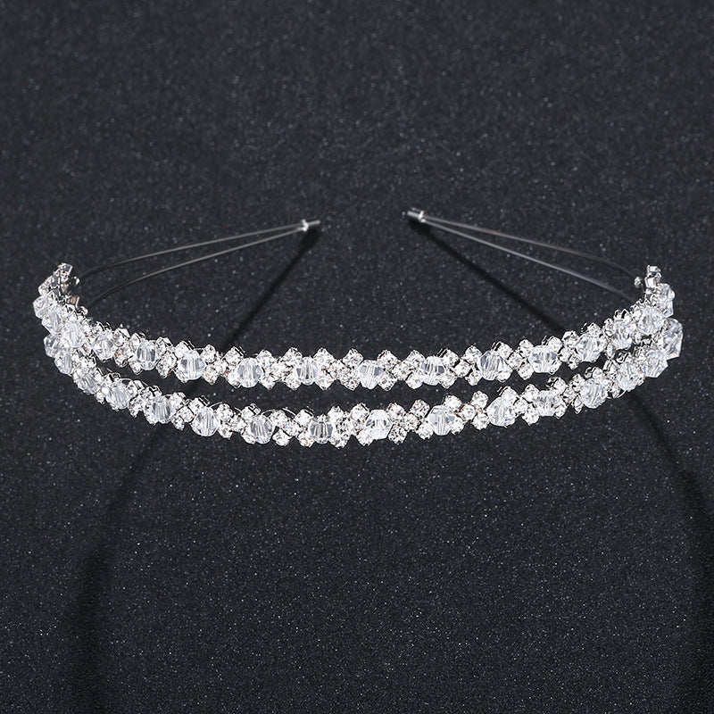 Crystal Rhinestones Tiaras Beads Glittering Crowns Wedding Party Prom Hair Accessories Girls Fashion Rim for Hair
