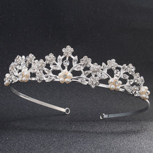 Rhinestone Pearls Wedding Tiaras and Crowns for Women Classic Austrian Crystal Stone Diadem Hair Jewelry Accessories