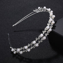 Fashion Bride Crown Leaf shape Rhinestone Wedding Headband ivory white Pearl Wedding Headpiece Rim for Hair