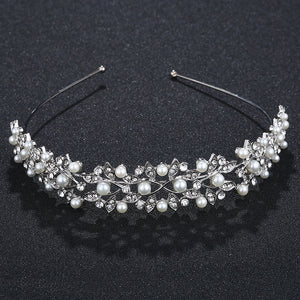 Rhinestone Pearl Crown Headband Vintage Crystal Bridal Tiaras Wedding Accessories Party Leaves Jewelry Silver Rim for Hair