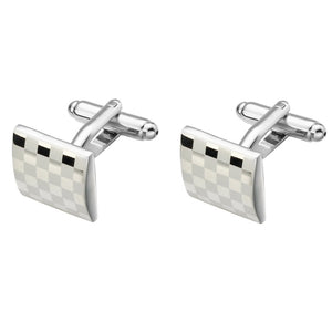 Laser Cufflinks High Quality Gemelos Fashion Check Cuff links New Brass cuffs