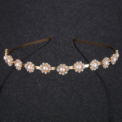 Bridal Wedding Tiara Bridemaid Rhinestone Decor Hairband Hair Loop Tiaras Pearl Jewelry Accessories Rim for Hair