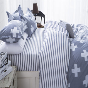 Pale Blue Plus Signal Pattern Soft and Luxury Beddings Set