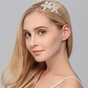 Crystal Rhinestones Crown Tiara Flower Pattern Girls Headband Hair Combs for Wedding Bridal Prom Accessories Rim for Hair