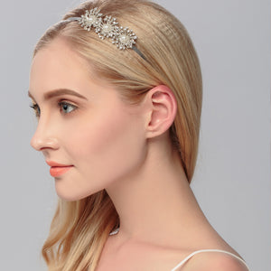 Fashion Austrian Crystal Women Wedding Tiaras Simulated Pearls Metal Alloy Hairbands Hair Jewelry Accessories for Bride