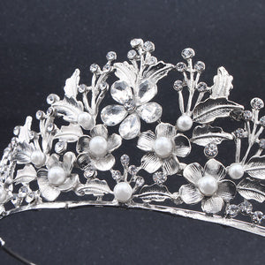 New Austria Crystal Pearl Tiara Bridal Hair Accessories For Wedding Crowns Silver Color Metal Alloy Diamante Hair Jewelry