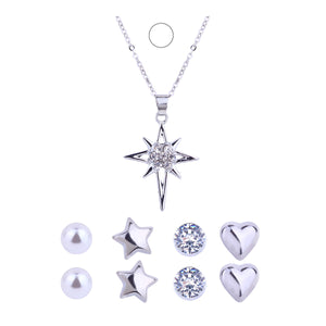 Sterling Silver Simple Full Cubic Zirconia Star Necklaces & Pendants For Women Romantic Valentine's Day Gift Jewelry