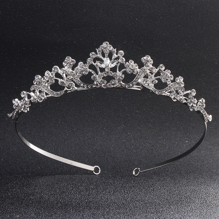 Fashion Crystal Stone Princess Tiaras and Crowns Silver Color Luster Zinc Alloy Diadem Wedding Women Hair Jewelry