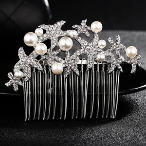 Wedding Bridal Hair Comb Starfish Bridesmaid Prom Crystal Jewelry Combs Silver Plated Hair Accessories